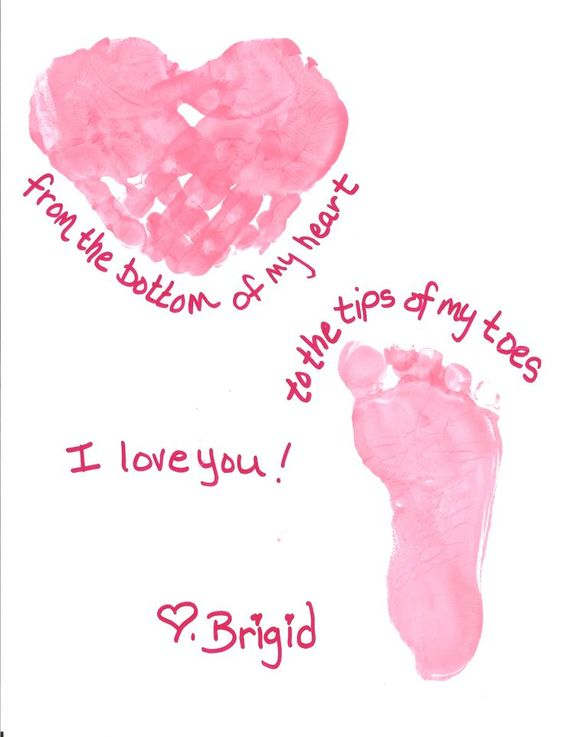 Pink hand and foot print craft for romantic day.