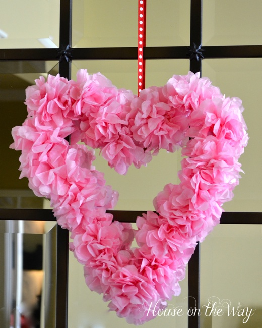 Pink heart wreath for Valentines day.