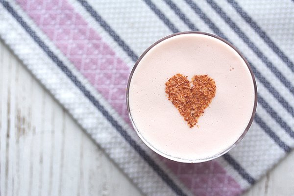 Pomegranate-flavored tipples, topped with a ground cinnamon heart.