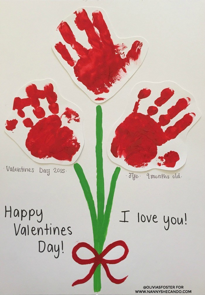Pretty baby hand print flower for Valentine day.
