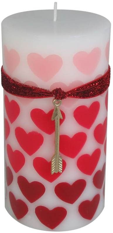 Pretty heart embed pillar candle.