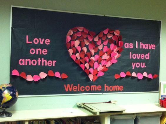 Pretty heart themed classroom decor.