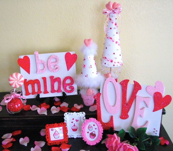 Pretty pink and white Valentine party decoration.
