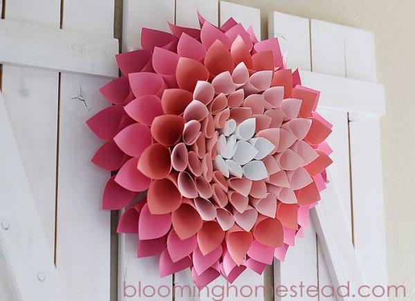 Pretty pink paper flower wreath.