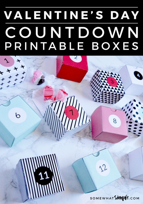 Printable box Valentine day advent calendar.