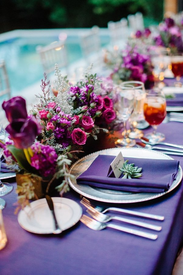Purple theme table setting for Valentine's day.