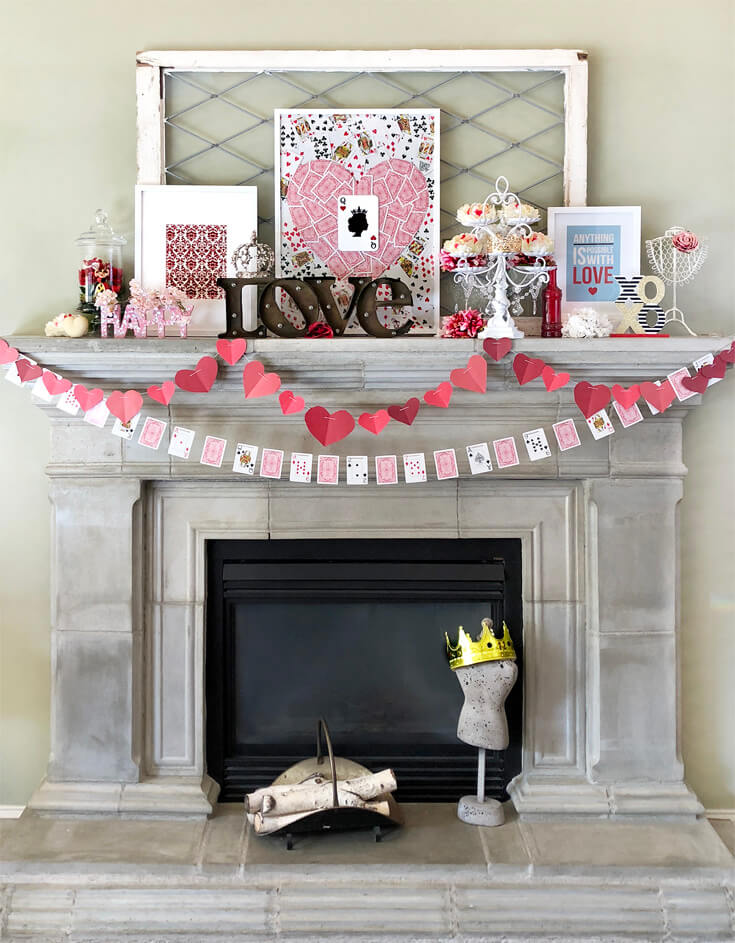 Queen of hearts garland with beautiful sign board for Valentines day mantel decor.