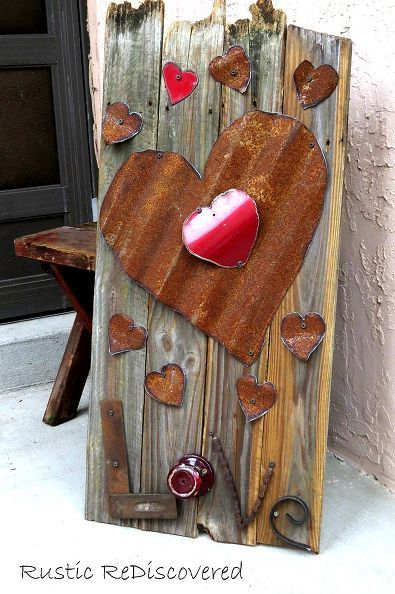 Reclaimed fence board sign of love.