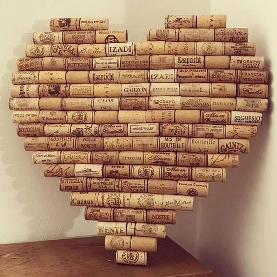 Recycled wine corks as heart shaped memo board.