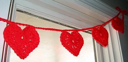 Red crochet heart garland.