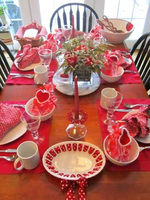Red is perfect for valentines day table setting.