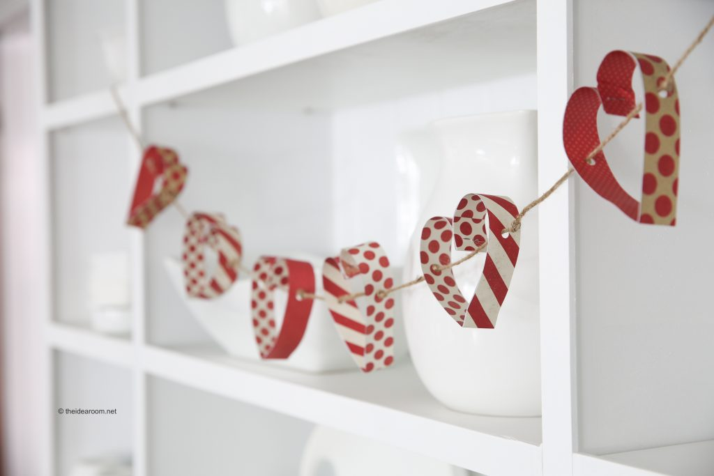 Red & white paper heart garland.