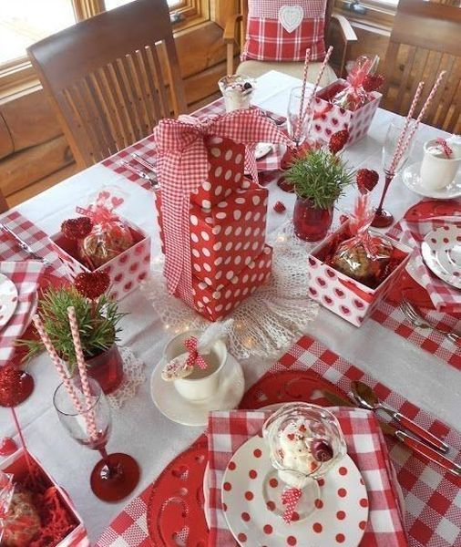 Red & white polka dot theme table setting for Valentine's day.