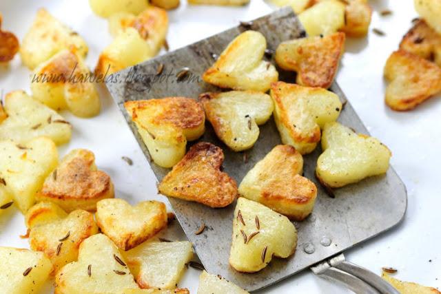 Roasted heart potatoes.