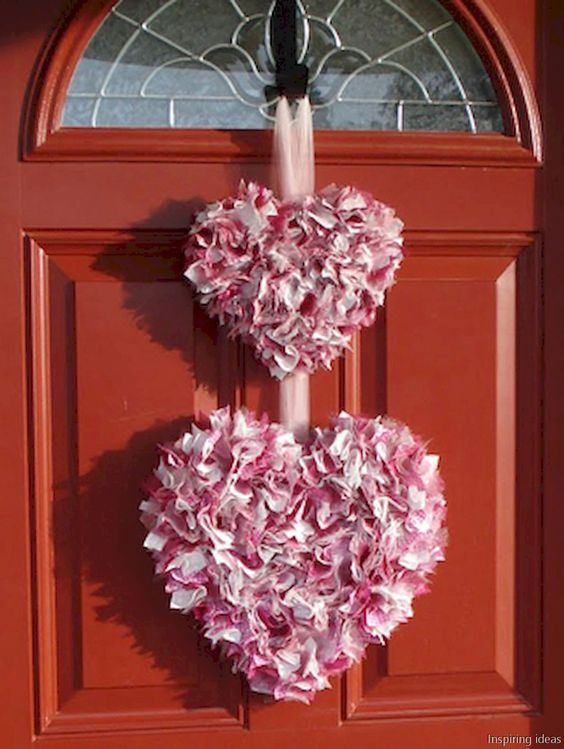 Rocking double heart wreath for front door decor.