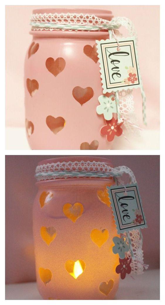 Rocking mason jar Valentines day craft.