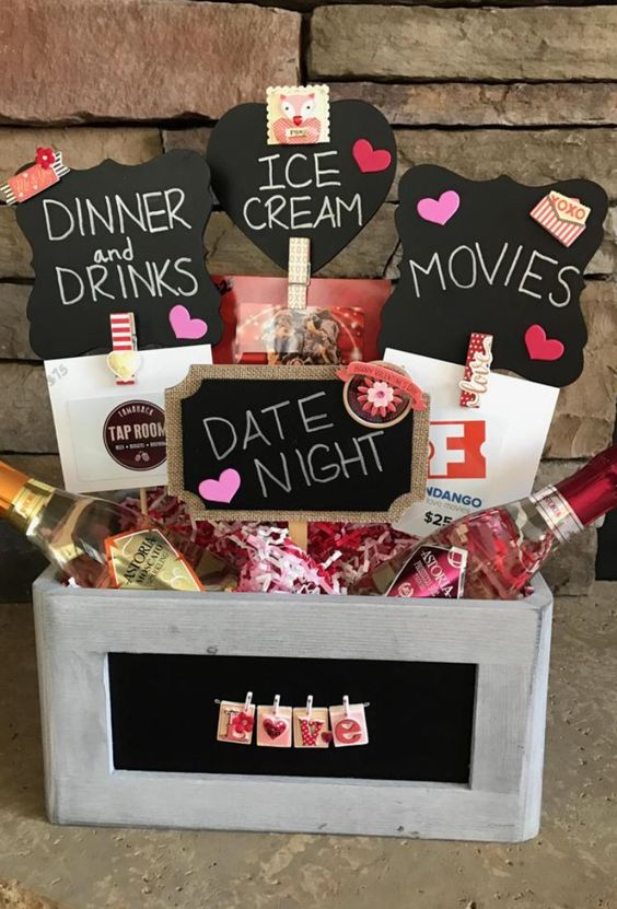 Romantic date night basket for gift.