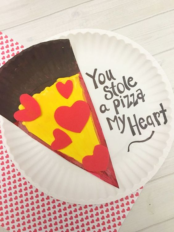 Romantic paper plate heart pizza craft.