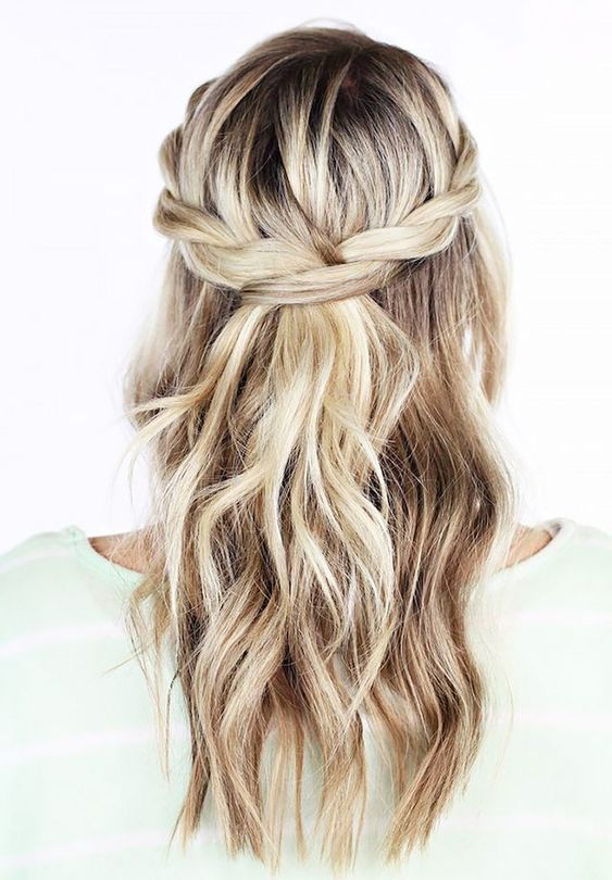 Romantic twisted braid crown.