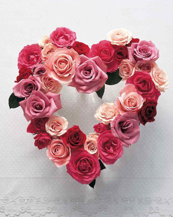 Rose flowers heart shape wreath.