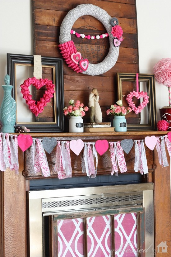 Rustic touch Valentine's day mantel decoration.