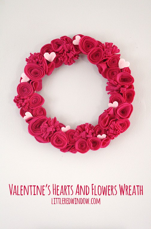 Sassy hot pink flower and heart wreath.
