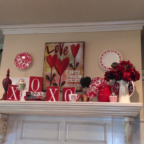 Sassy mantel decor for Valentine's day.