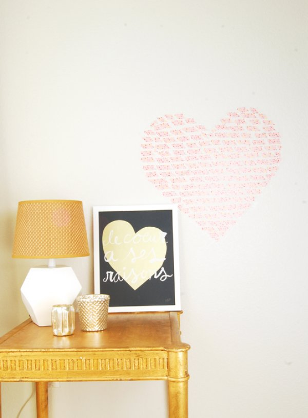 Sassy washi tape heart wall decor.