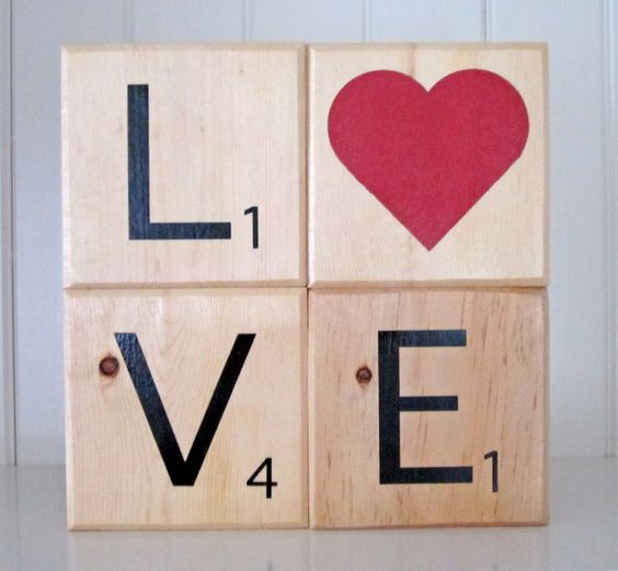 Scrabble letter blocks.