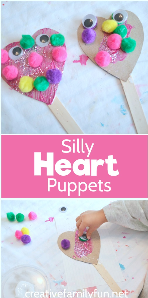 Silly heart puppets for Valentine day.