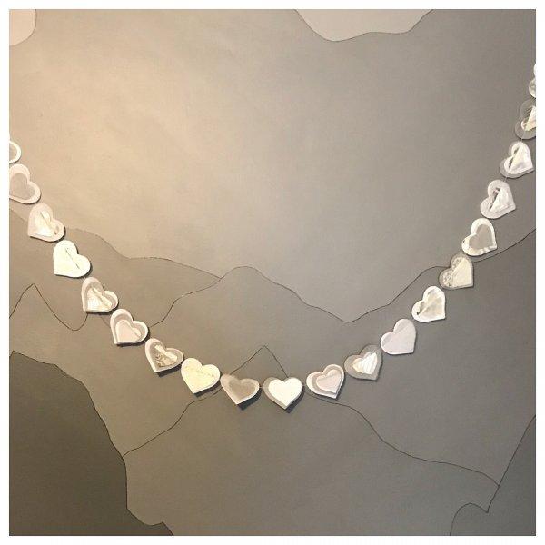 Silver heart Valentine's day garland.