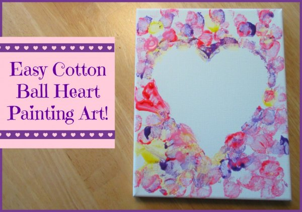 Simple cotton ball heart painting art.