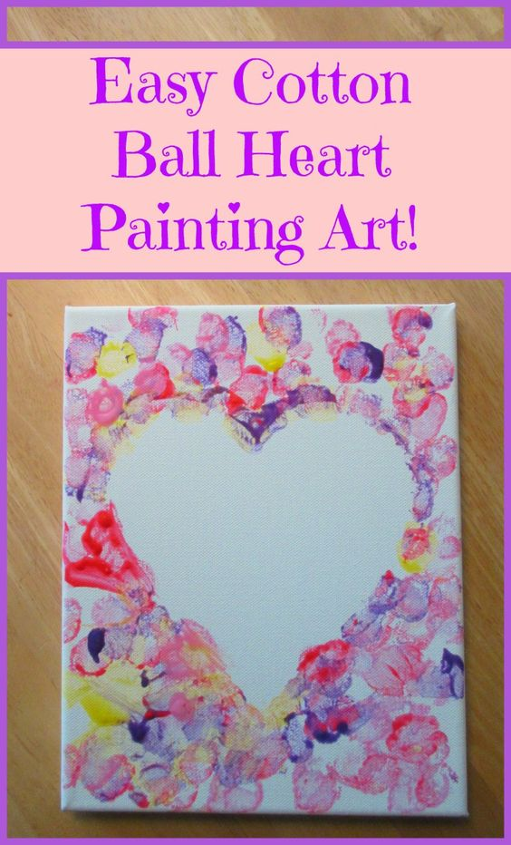 Simple cotton ball heart painting for kids.