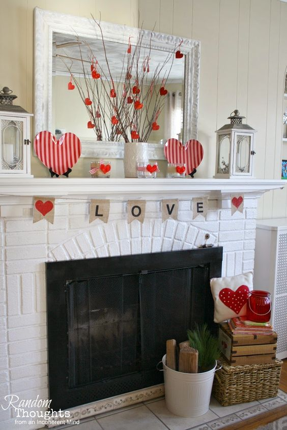 Simple mantel decoration for Valentines day.