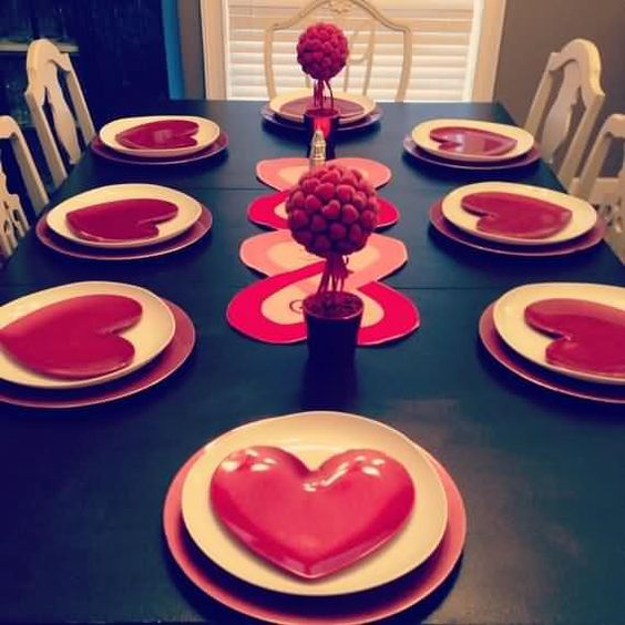 Simple valentine day table decor.
