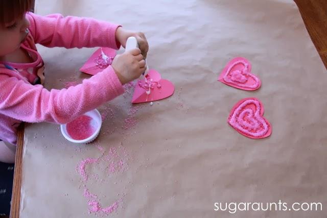Sparkle heart crafts for kids.