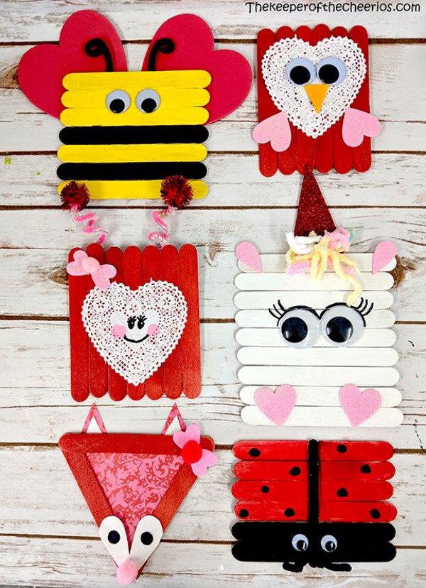 Stick crafts for V-day.