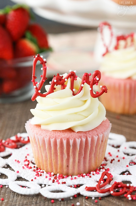 Strawberry Cupcakes with Cream Cheese Frosting.
