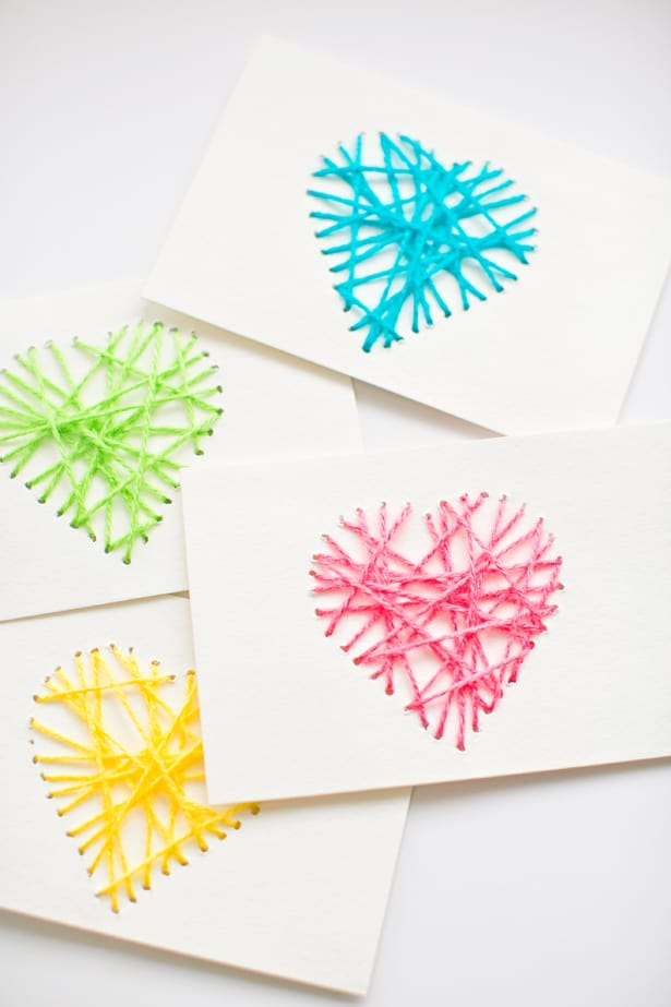 String yarn heart cards.