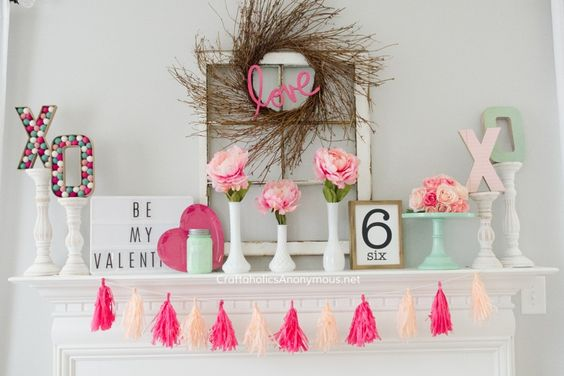 Stunning pink and mint Valentine mantel.