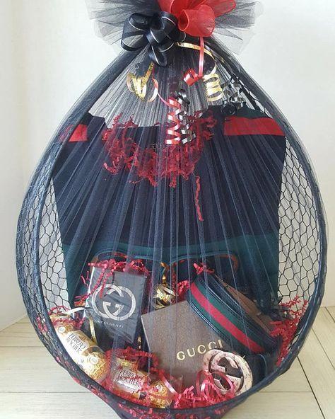 Surprise big gift basket for your boyfriend.