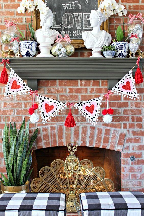 Swanky Valentines day mantel decor idea.