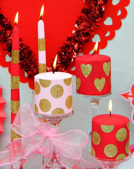 Swanky heart and polka-dot candles with striped tapers for Valentines day.