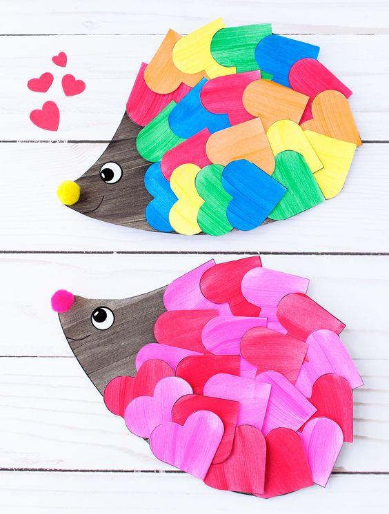 Sweetest heart hedgehog craft for kids.