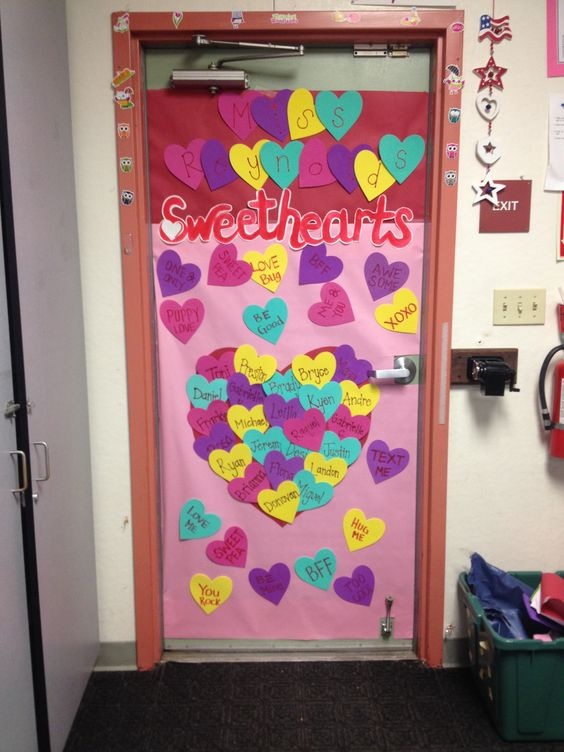 Sweethearts Valentine's day classroom door decoration.
