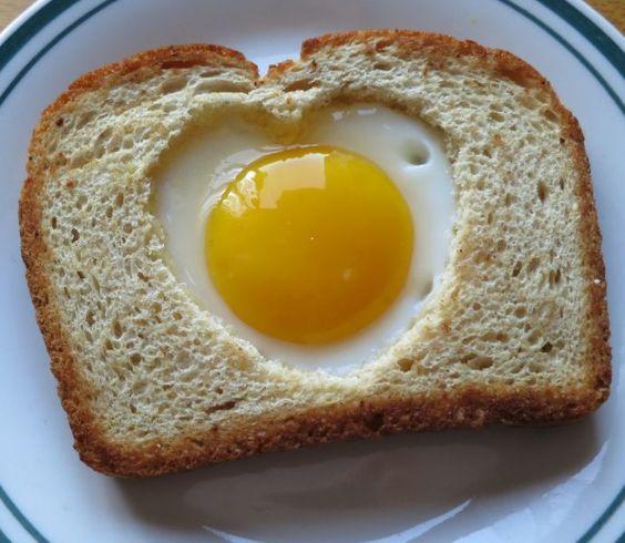 Tasty heart shape egg toast for breakfast.