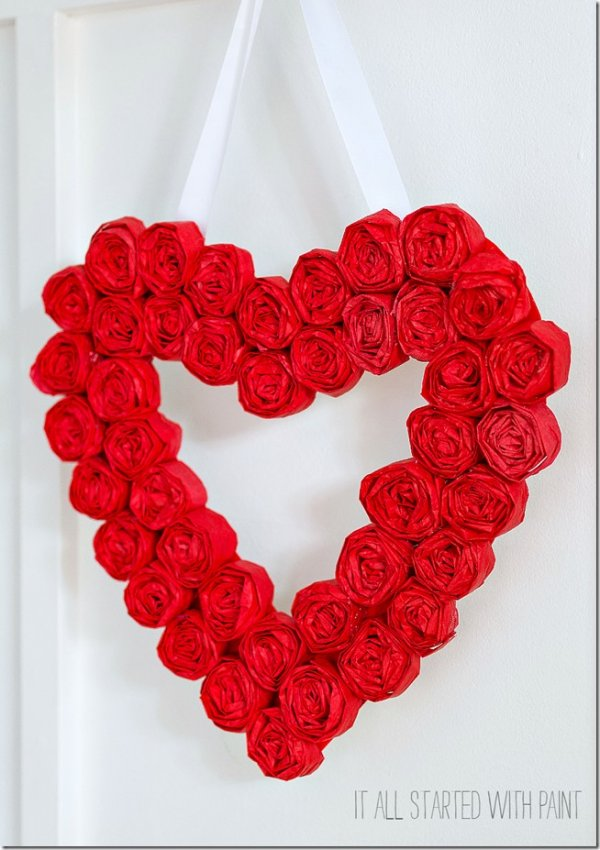 Tissue paper rosette valentine day wreath for front door.