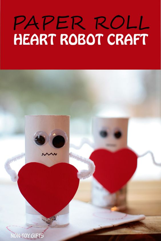Toilet roll heart robot kids craft for Valentines day.