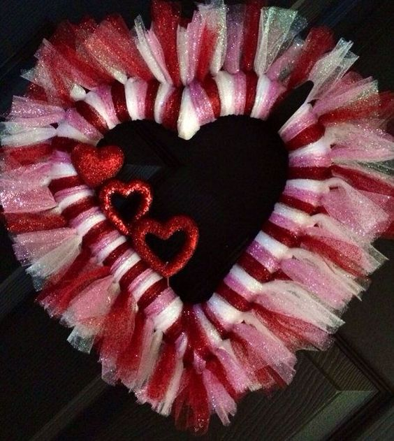 Tulle heart shape wreath.