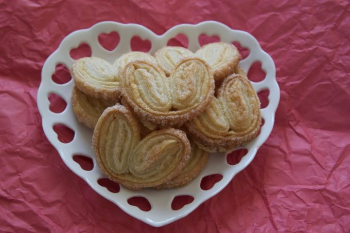Valentines day french palmier heart cookies.